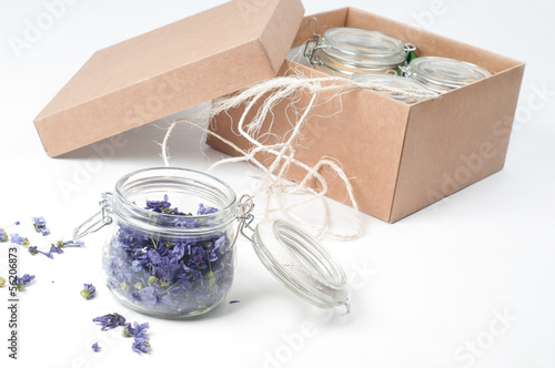 Jar of lavender on white
