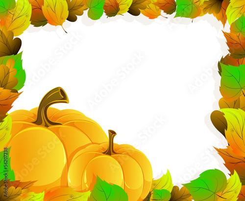 Pumpkins and  leaves