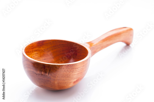 classic wooden bucket on white base