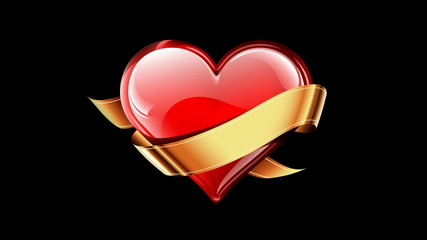 Heart with golden ribbon