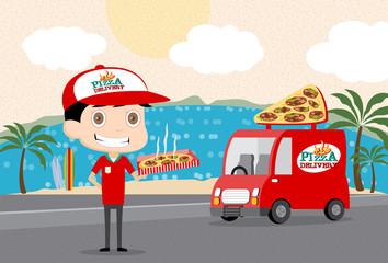 Pizzaman and his Van Vector