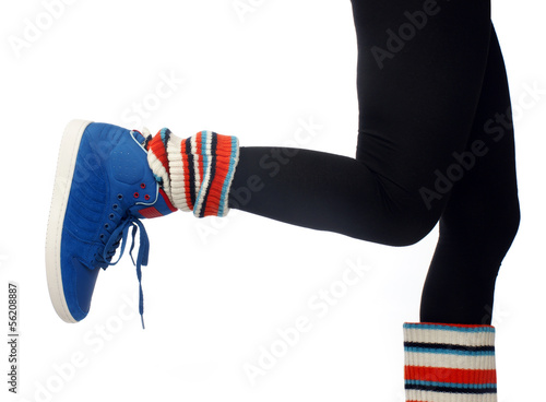 woman leg in sport shoe