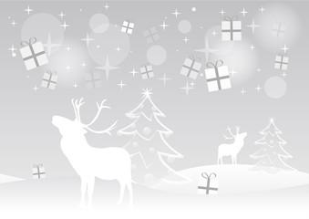 Noël - Rennes et cadeaux qui tombent du ciel - fond gris