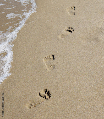 canvas print picture Spuren im Sand am Meer