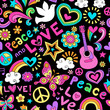 Peace and Love Seamless Pattern Vector Doodle