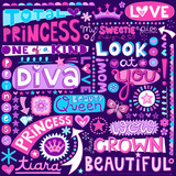 Princess Fairy Tale Diva Word Doodles Vector Illustration