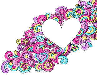Peace & Love Groovy Psychedelic Doodles Heart Frame Vector