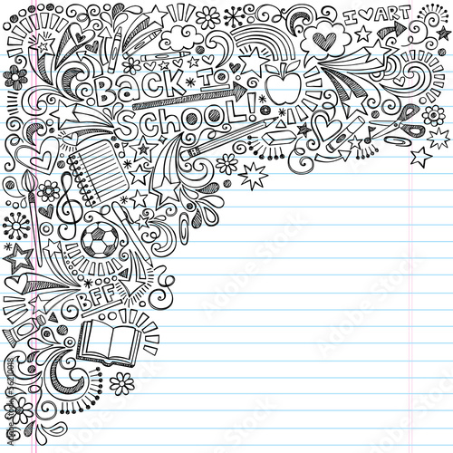 Back to School Inky Doodles Vector on Notebook Paper Background