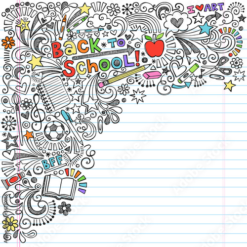 Back to School Inky Doodles Vector Education Illustration