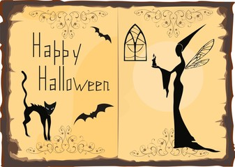 Halloween Card with silhouette of witch and cat