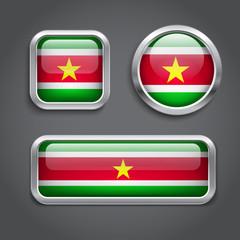 Suriname  flag glass buttons