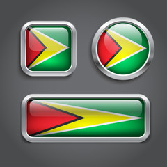 Guyana flag glass buttons