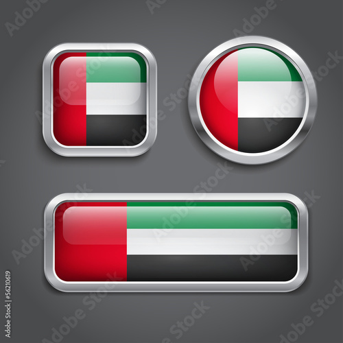 Emirates flag glass buttons