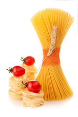 Spaghetti with wheat spikelets  and tomatoes