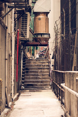 Messy side alley in hong kong
