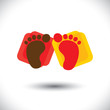 Child's colorful pair of foot-print sign or symbol for school -