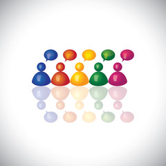 colorful 3d office staff or employees  icons talking & chatting