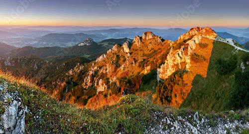 Rocky peak at sunset - Rozsutec