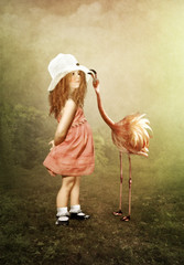 The little girl and flamingos
