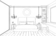 Modern interior bedroom hand drawing