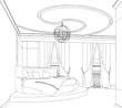 Modern interior bedroom hand drawing