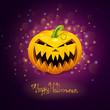 Vector Halloween Design with Scary Pumpkin