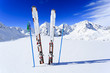 Ski, winter season, mountains and ski equipments on ski run
