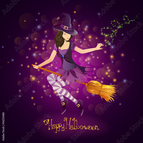Vector Illustration of a Halloween Witch