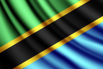 Waving flag of Tanzania, vector