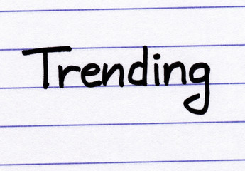 Trending written on white paper.