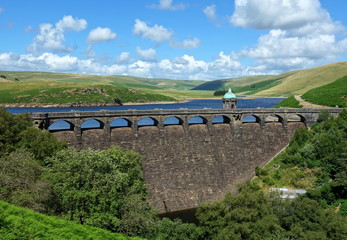 Craig Goch reservoir dam Elan Valley Wales UK.