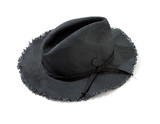Dark grey raffia fringed woven hat with hatband and heart brooch