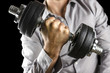 Closeup of businessman lifting weights