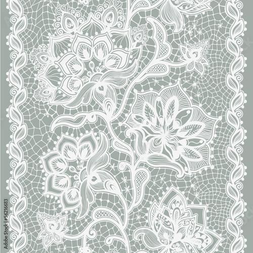 Tuinposter Kunstmatig Abstract lace ribbon seamless pattern with elements flowers.