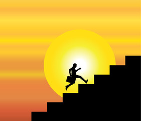 businessman climbing stairs evening sky sun background