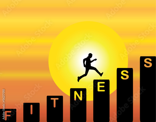 fit Man running fitness evening sky sun sunset background