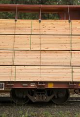 Lumber Loaded Railroad Car Transportation Boxcar Lumber
