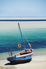 Dhow at the water's edge in Mozambique