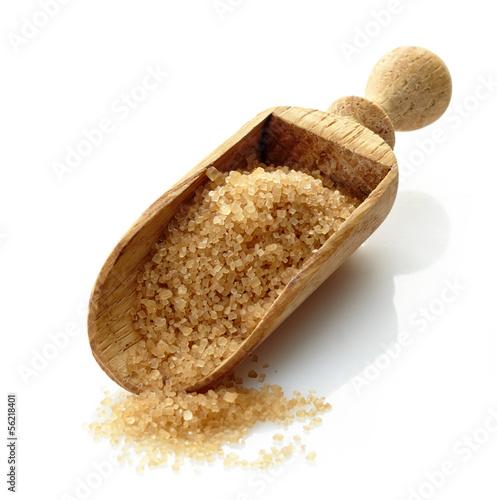 wooden scoop with brown sugar - 56218401