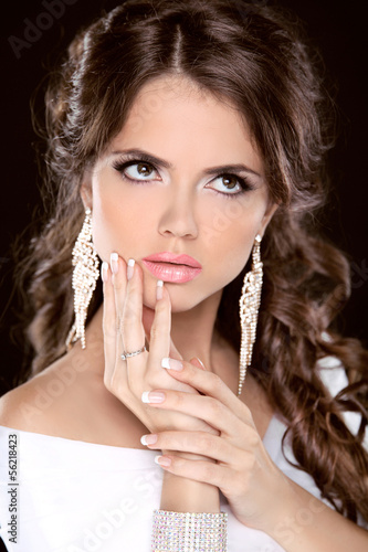 Beauty fashion brunette girl model portrait. Make up. Hairstyle.