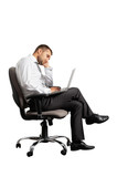 tired businessman sitting on office chair