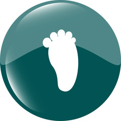 footprint people circle web glossy button icon