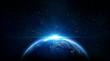 Leinwanddruck Bild - blue sunrise, view of earth from space