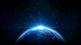 niebieski wschód słońca, widok na ziemię z kosmosu