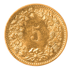 5 Swiss Rappen coin