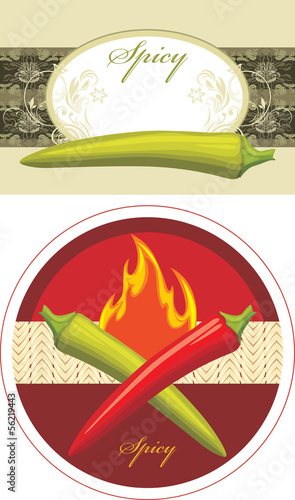 Chili hot pepper. Spicy. Label for design