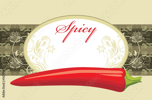 Chili hot peppers. Circle label for design