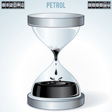 Oil Industry Concept. Petrol Flowing in Hourglass