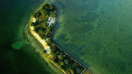 Aerial view small sub tropical Island, USA