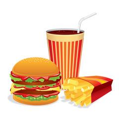 Fast Food Collage. Vector Illustration